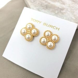 Tory Burch Rope Clover Pearl Studs Earrings